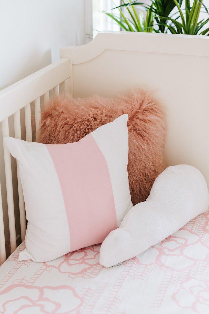 Crib , Crib Sheet , Blush Band Pillow , Cloud Pillow