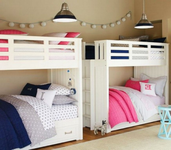 Coordinating bedding in a bunk room from Pottery Barn Kids