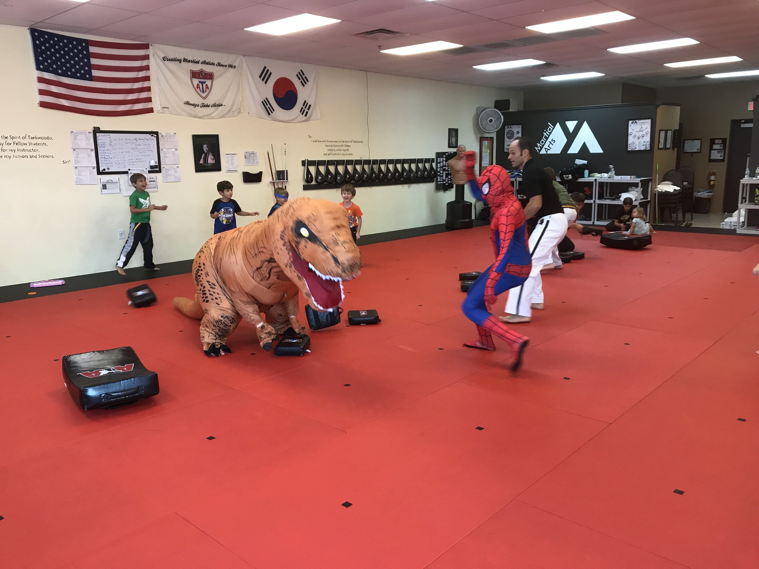 At our hurricane camp - we played a game we call dodge pad T-rex vs. Spider Man!