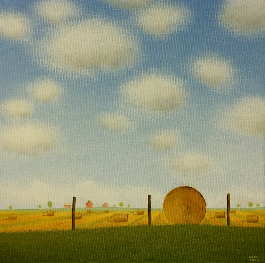 Bales Under a Summers Sky 14 x 14 Sharon France