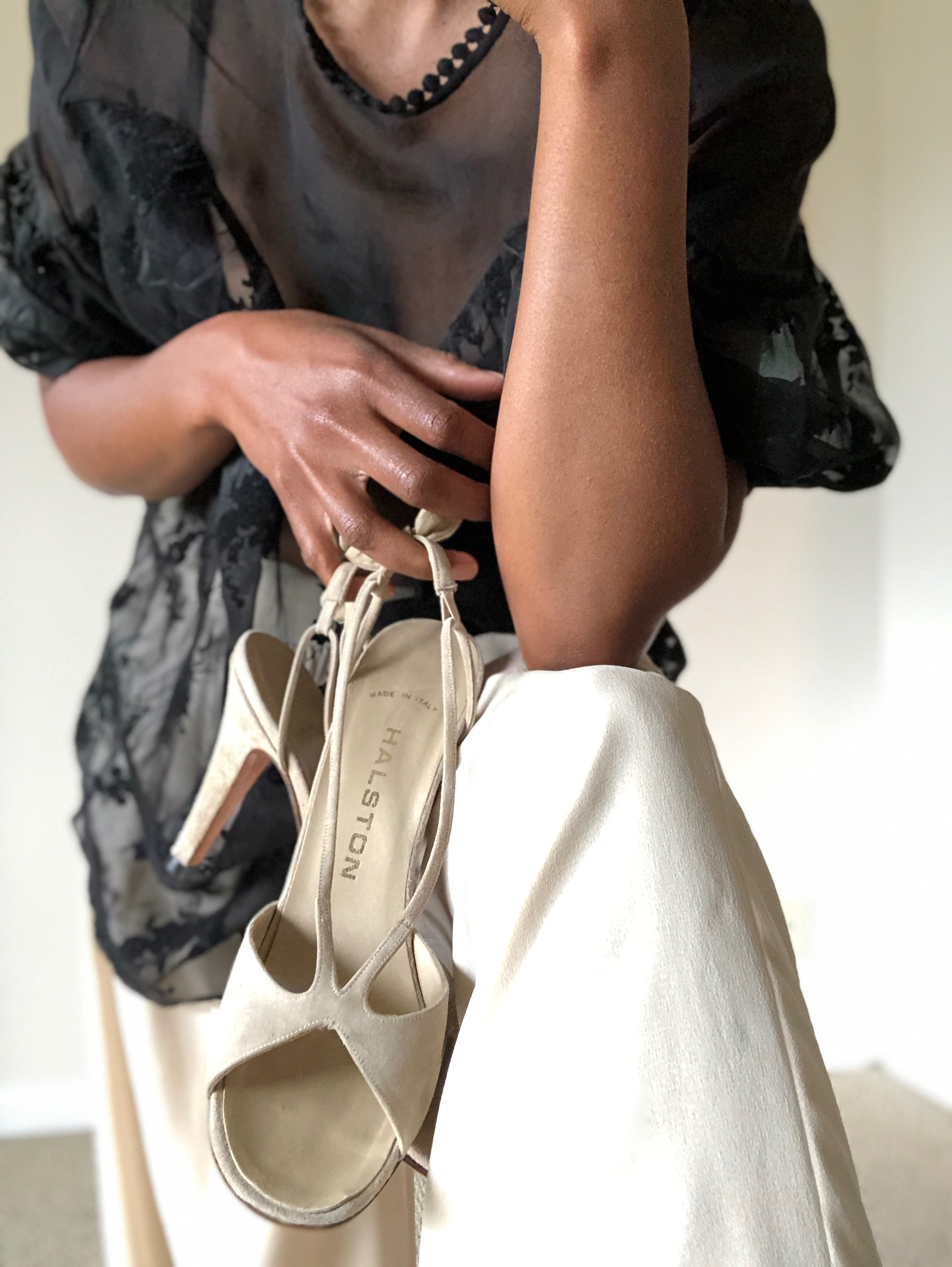 #Afterthedance Halston  suede shoes , Sheer  floral blouse  and beige  wide leg chiffon pants