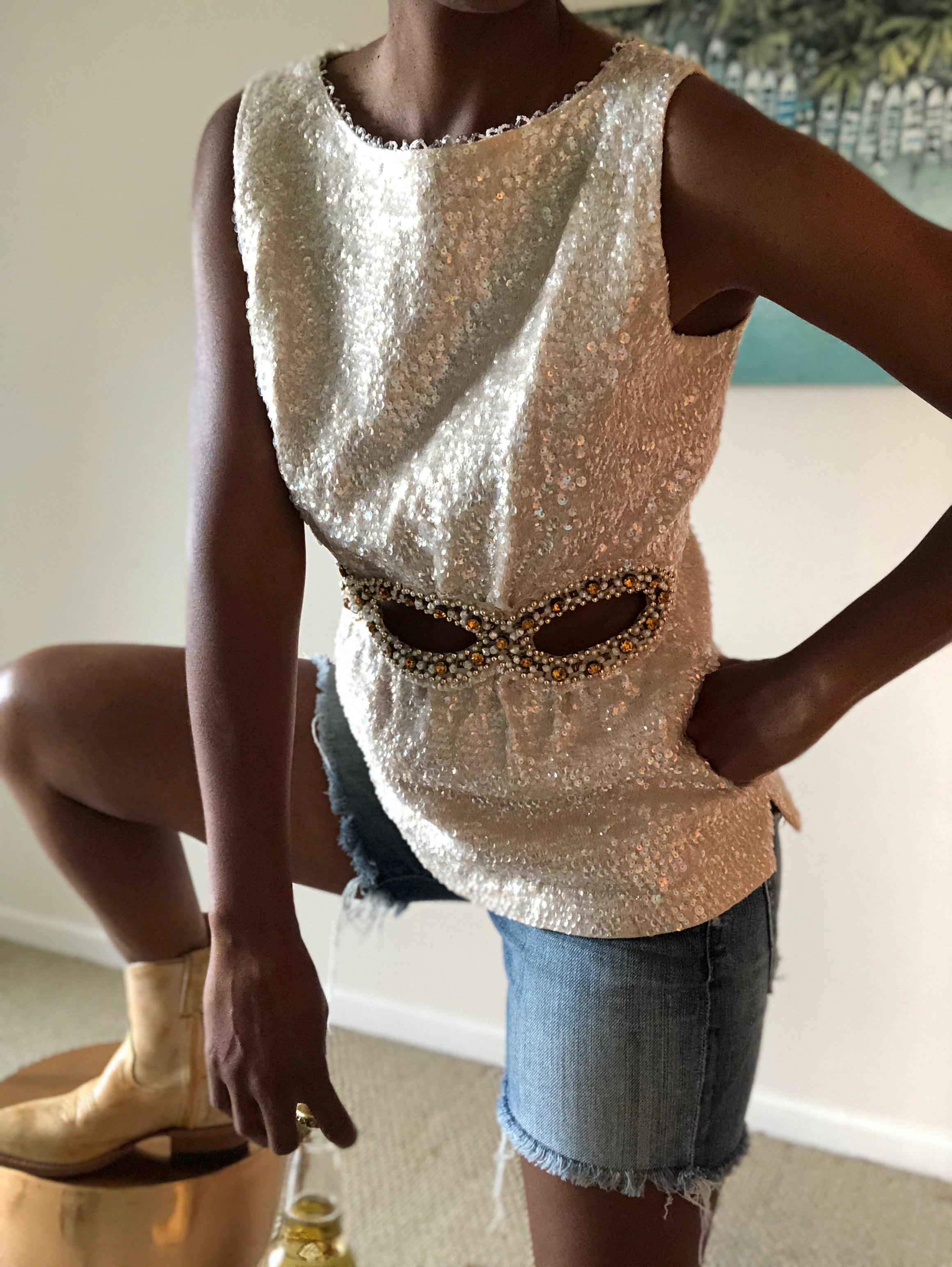 1960's Mod  Sequin sleeveless shell  w/cutout detail