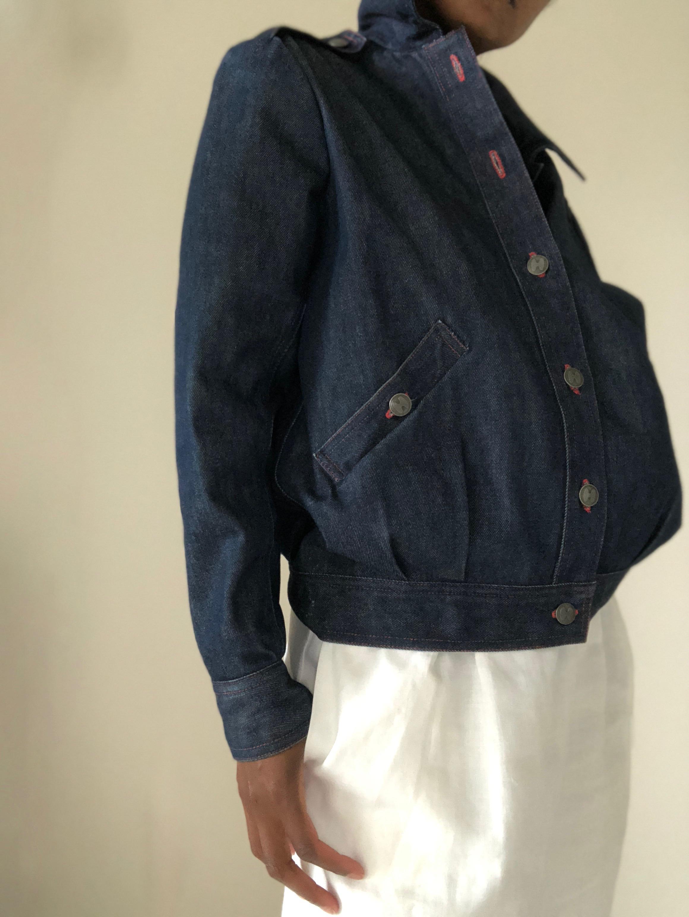 Halston dark  denim jacket  w/red stitching and  Valentino white linen skirt.