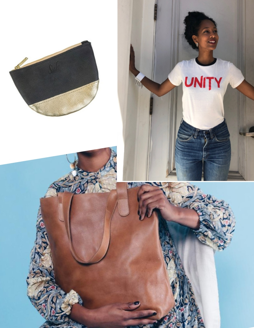 A roundup of some items I gifted this holiday from small female business owners. (Clockwise from the top)- A  Sseko  purse from  Alyce on Grand , the Unity tee from  Owl n Wood  and an  Unoeth  leather tote.