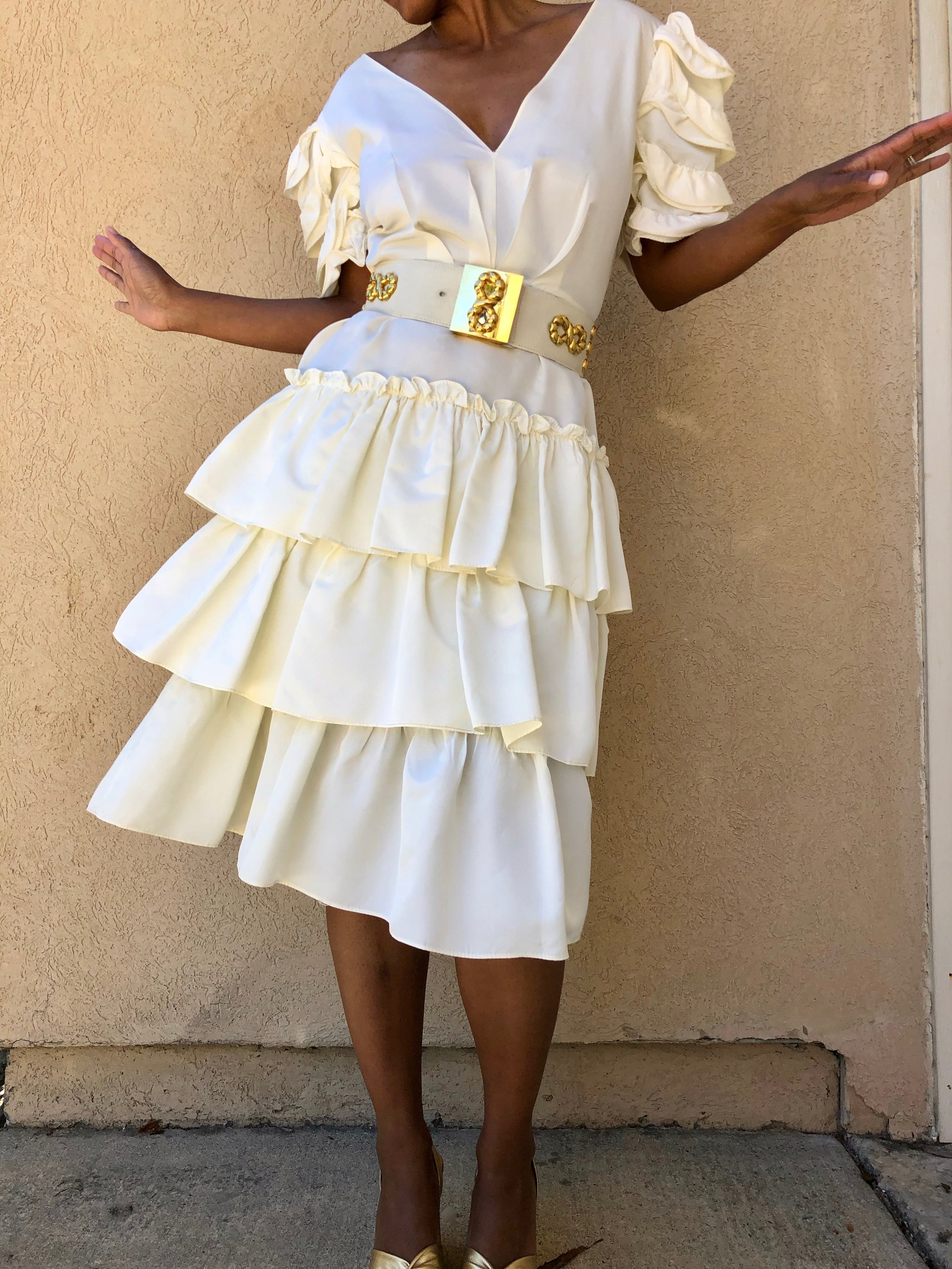 Ivory Ruffled I. Magnin Taffeta Dress