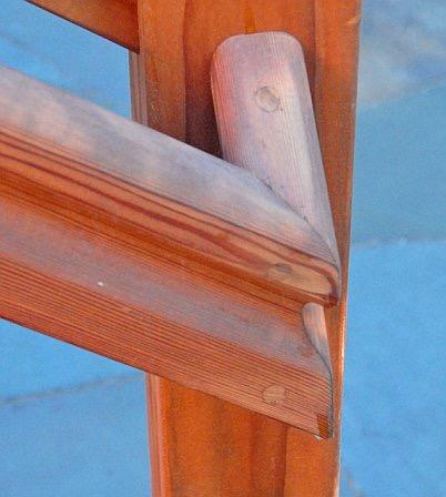 GRAB RAILS CLOSE UP PROFILED REDWOOD