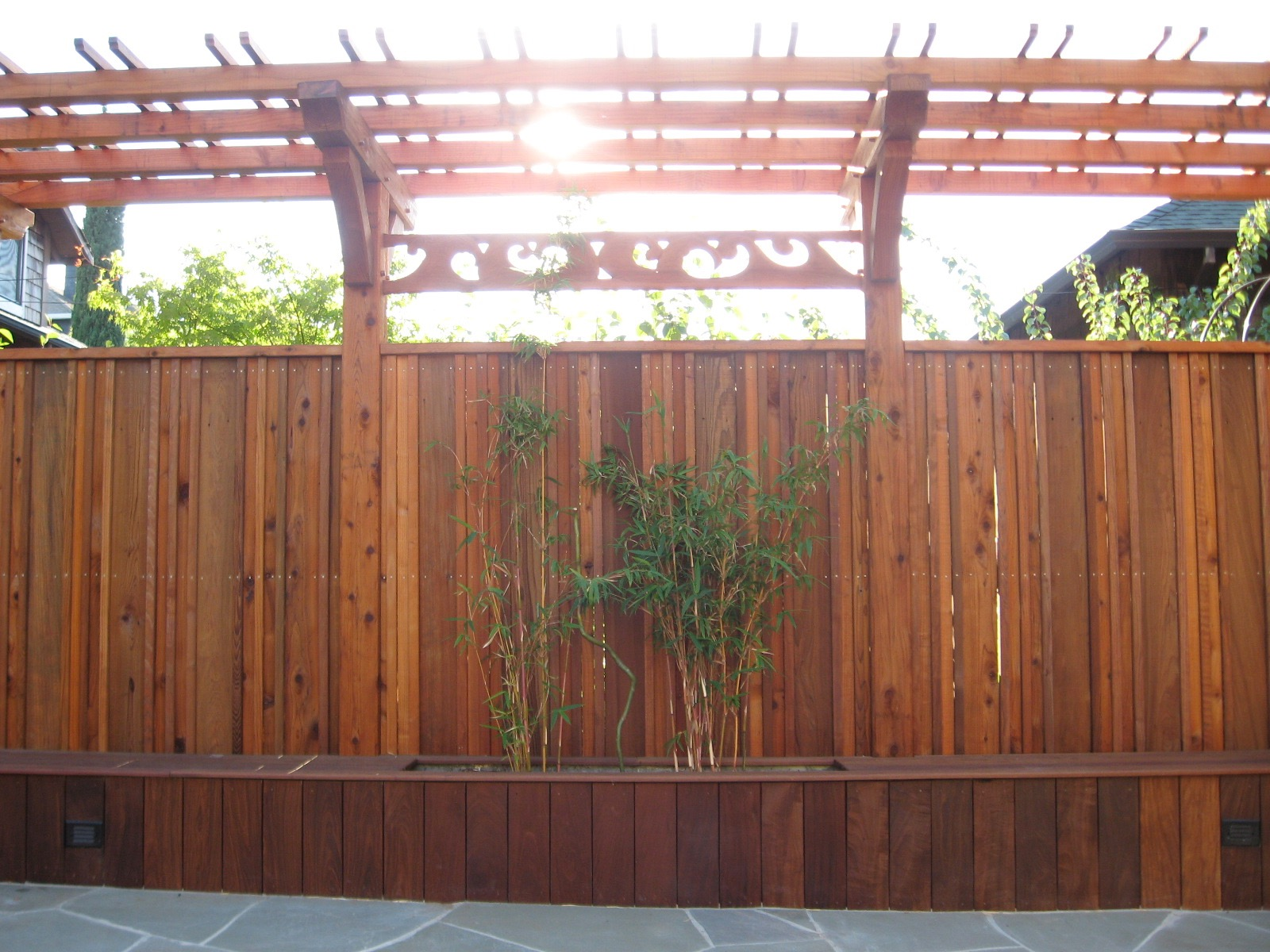 BAYVIEW RDWD FENCE AND IPE BENCH SEATING