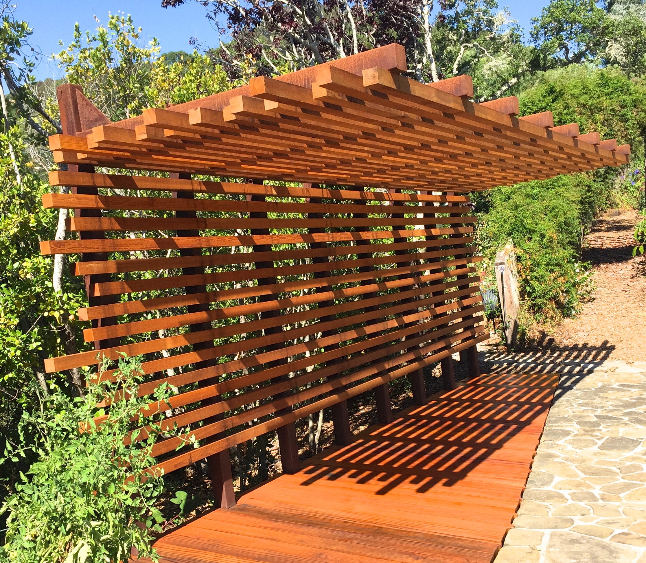 POOL SIDE STEEL: WOOD SHADE STRUCTURE