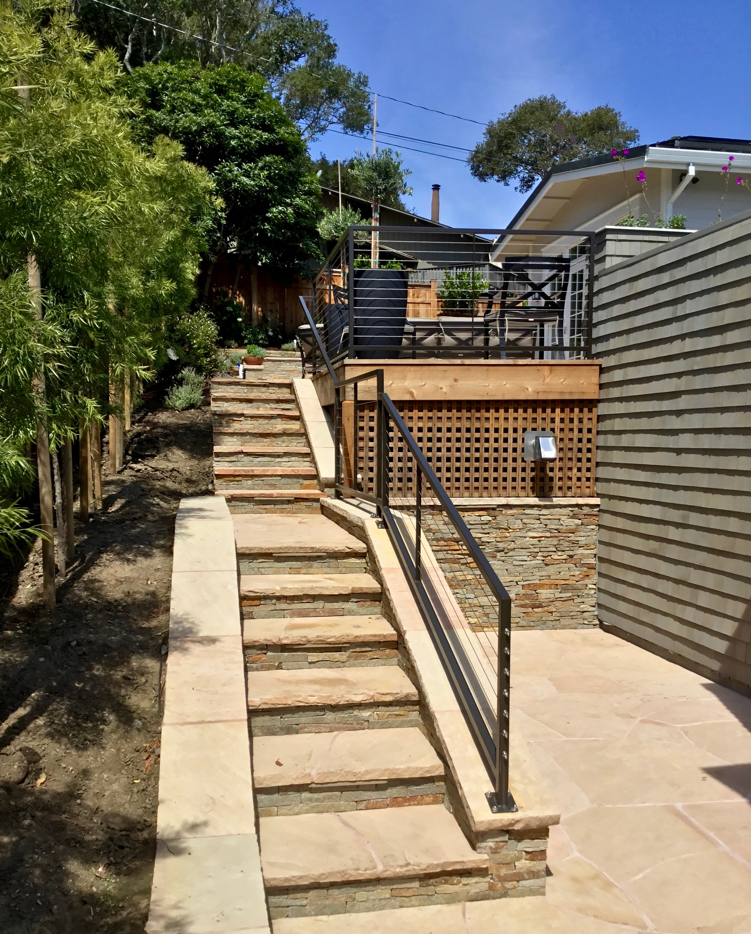 FLAGSTONE PATIOS STAIRS AND REDWOOD DECKS
