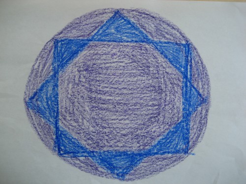 A main lesson book drawing of the quality of 8 | Lavender's Blue Homeschool