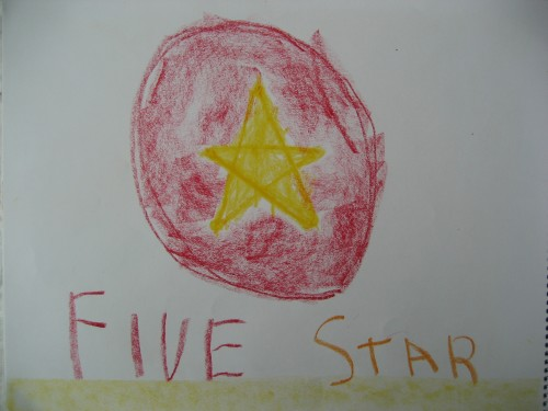 A main lesson book drawing of the quality of the number 5 | Lavender's Blue Homeschool