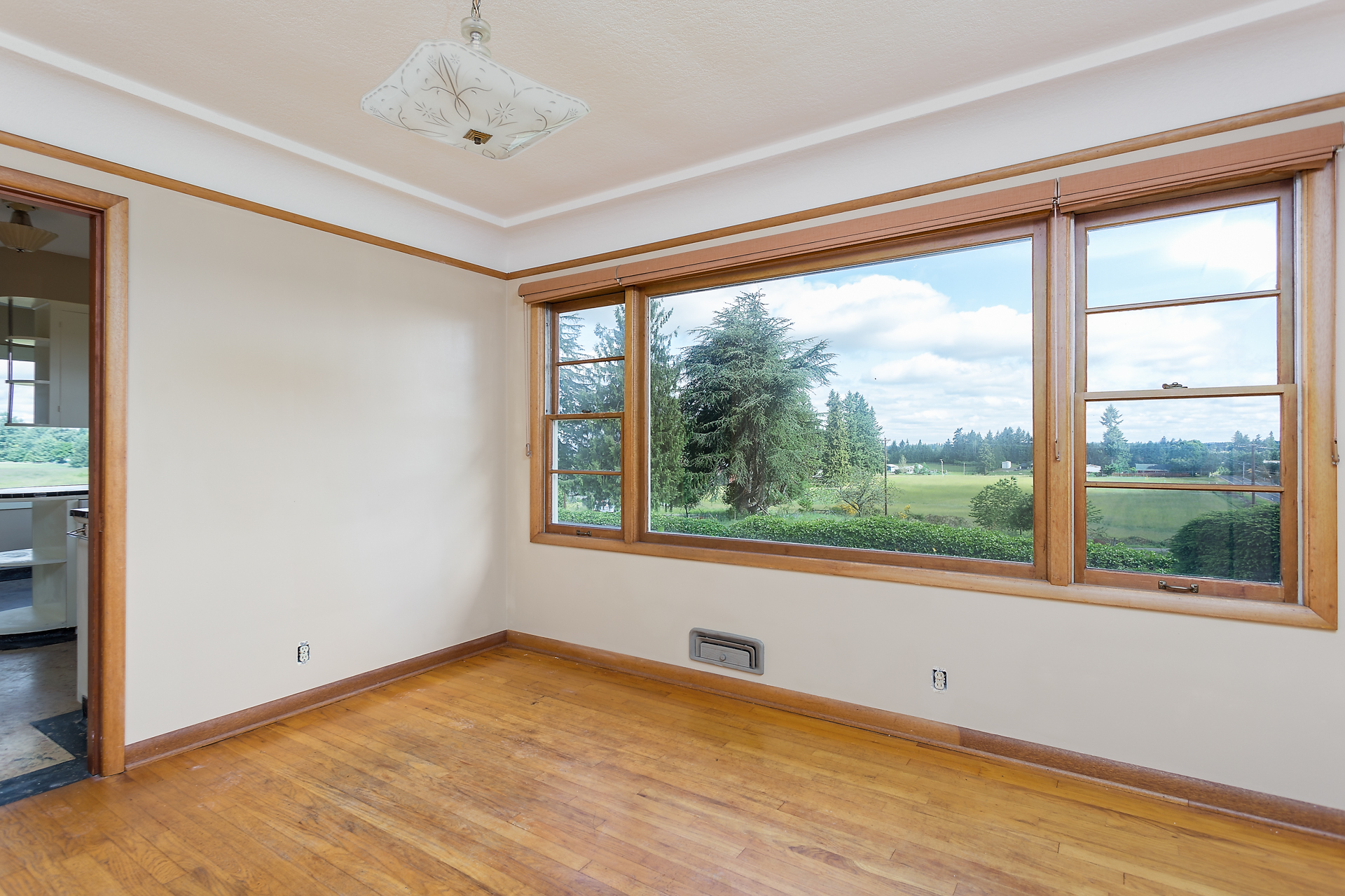 Formal dining room with beautiful view.