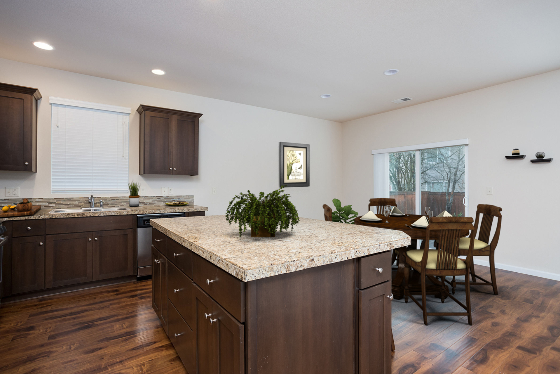 Kitchen/Dining Area Virtually Staged