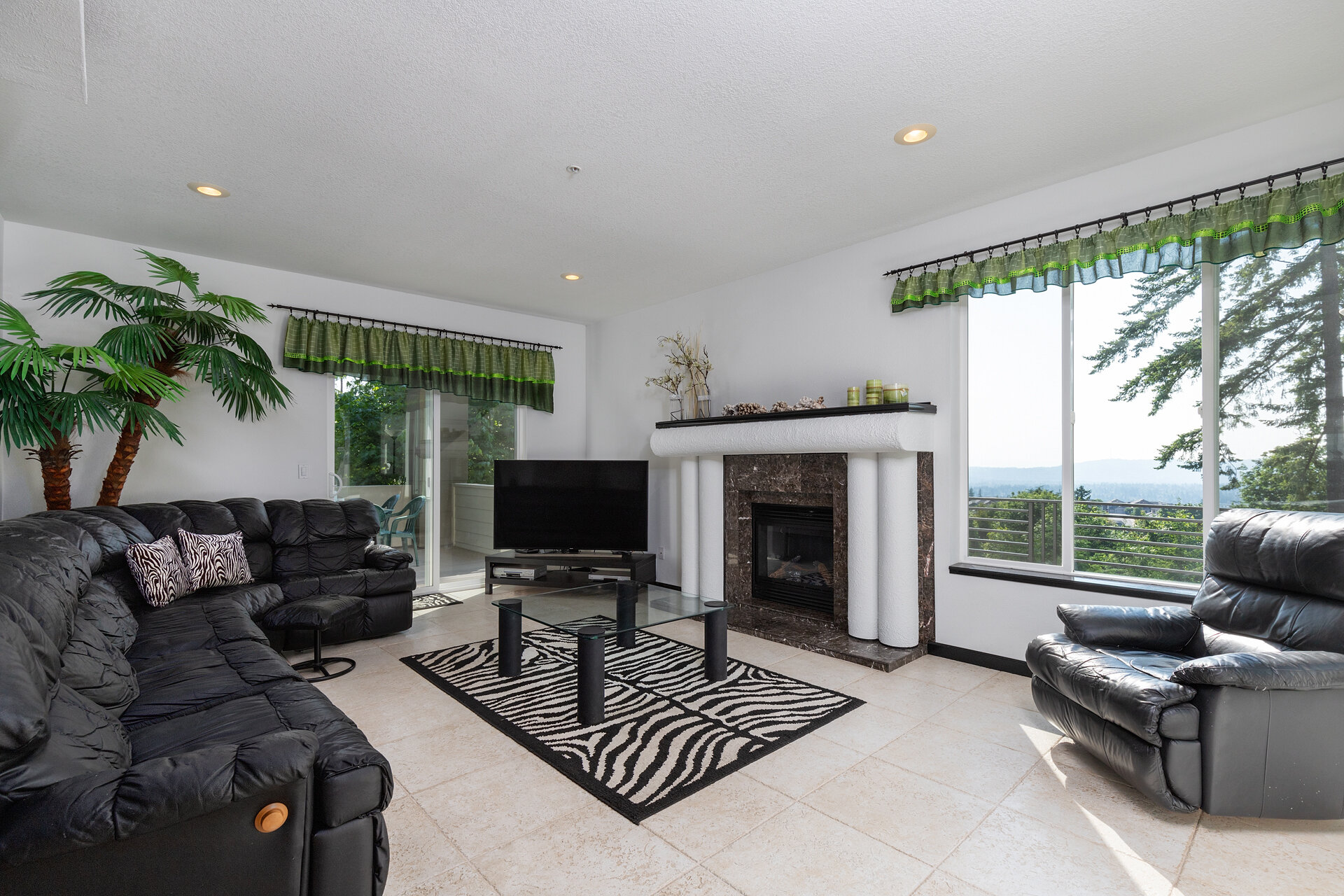Light and Bright Family Room with Fireplace