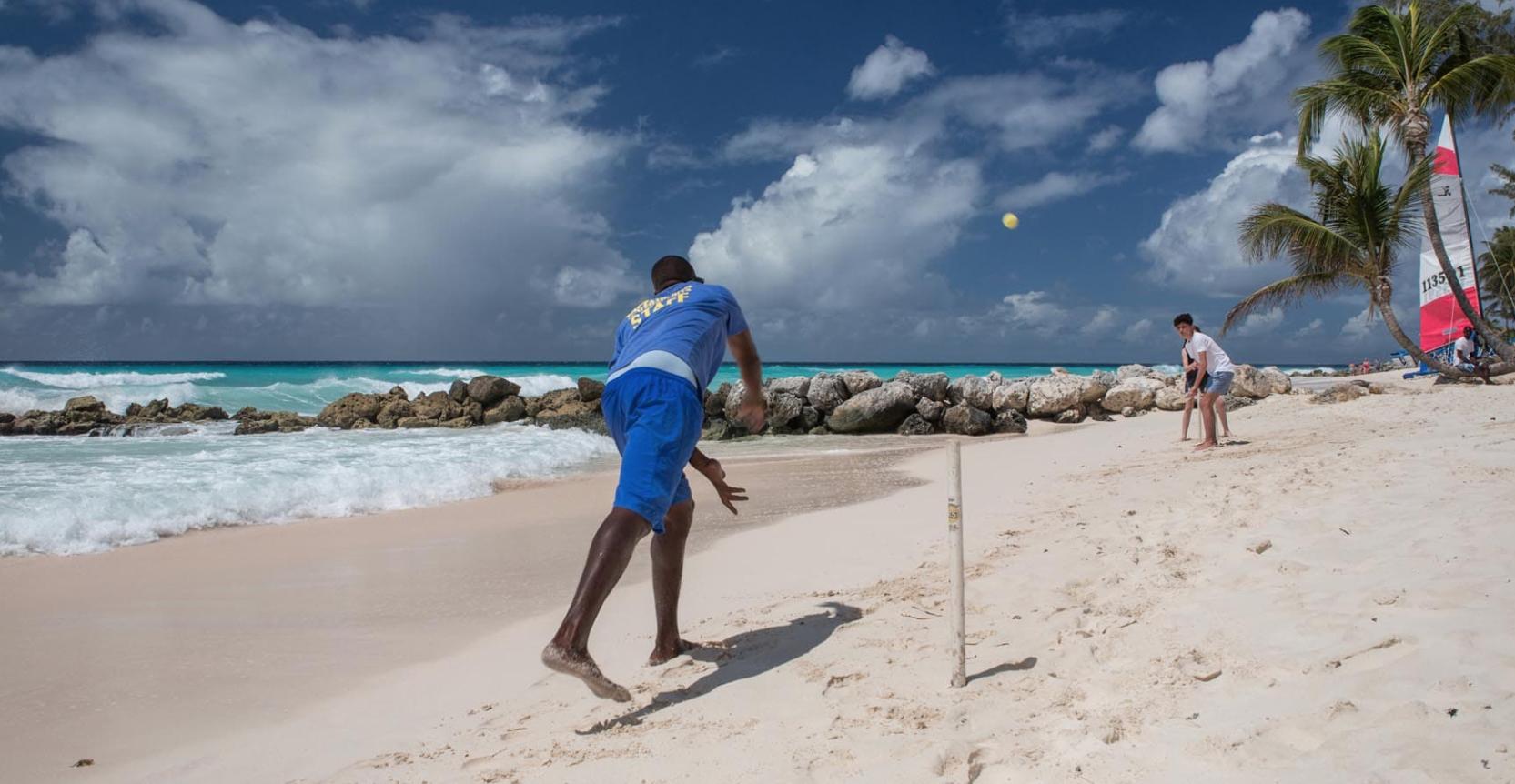 A game of beach cricket