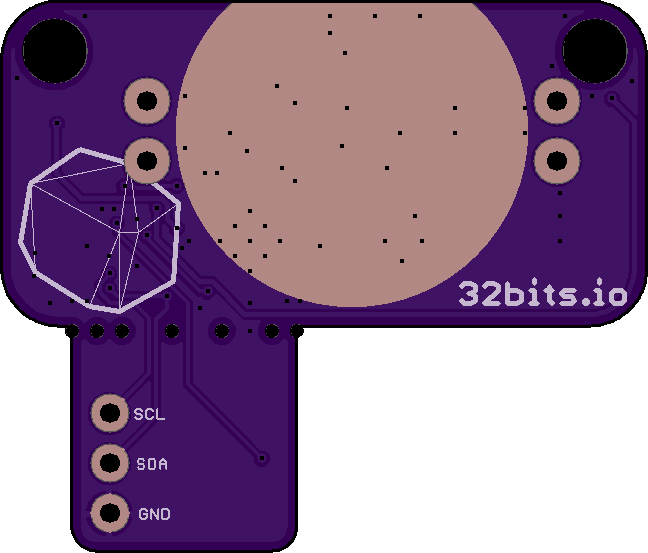 Back of PCB with exposed ground for the CR2032's cathode.