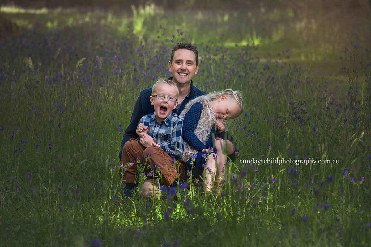 Dad and children in Kuitpo Forest family session