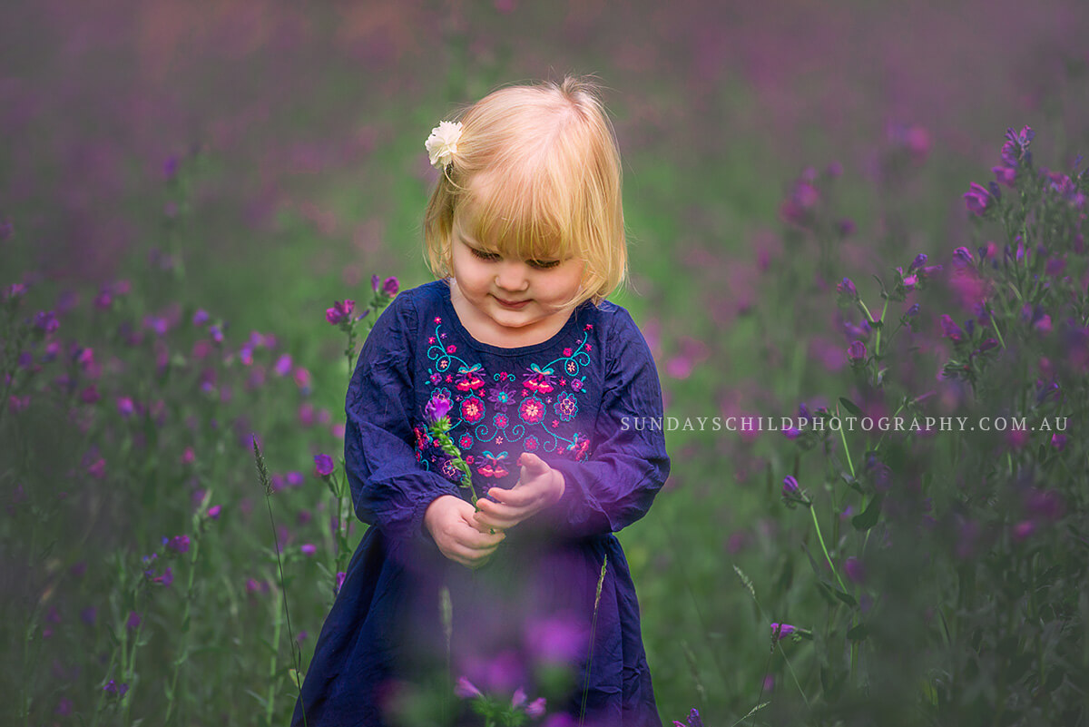 Child Portrait with the purple spring flowers, Adelaide Family Photographer.