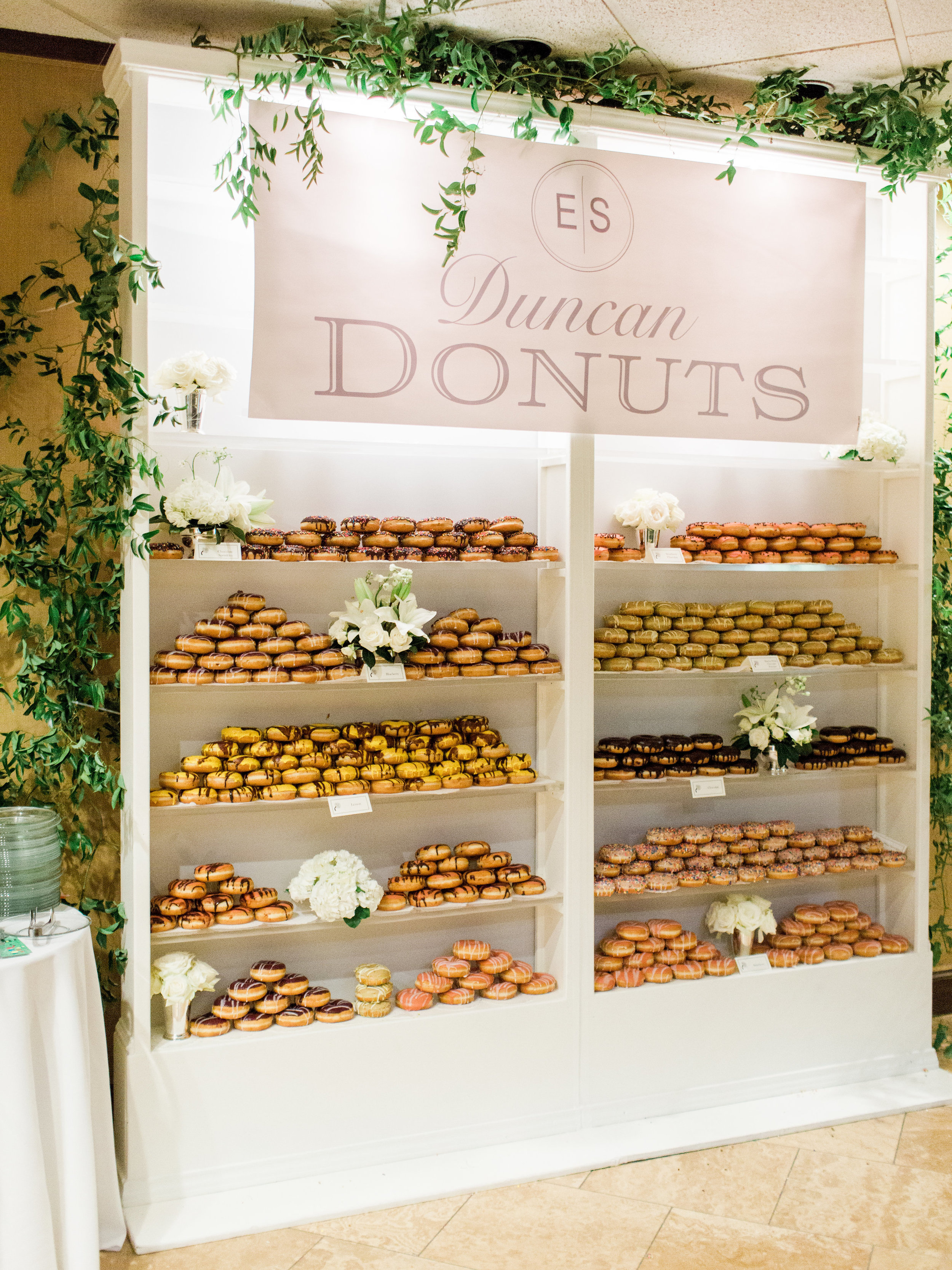 """Instead of a groom's cake, we opted to have """"Duncan Donuts""""!"""