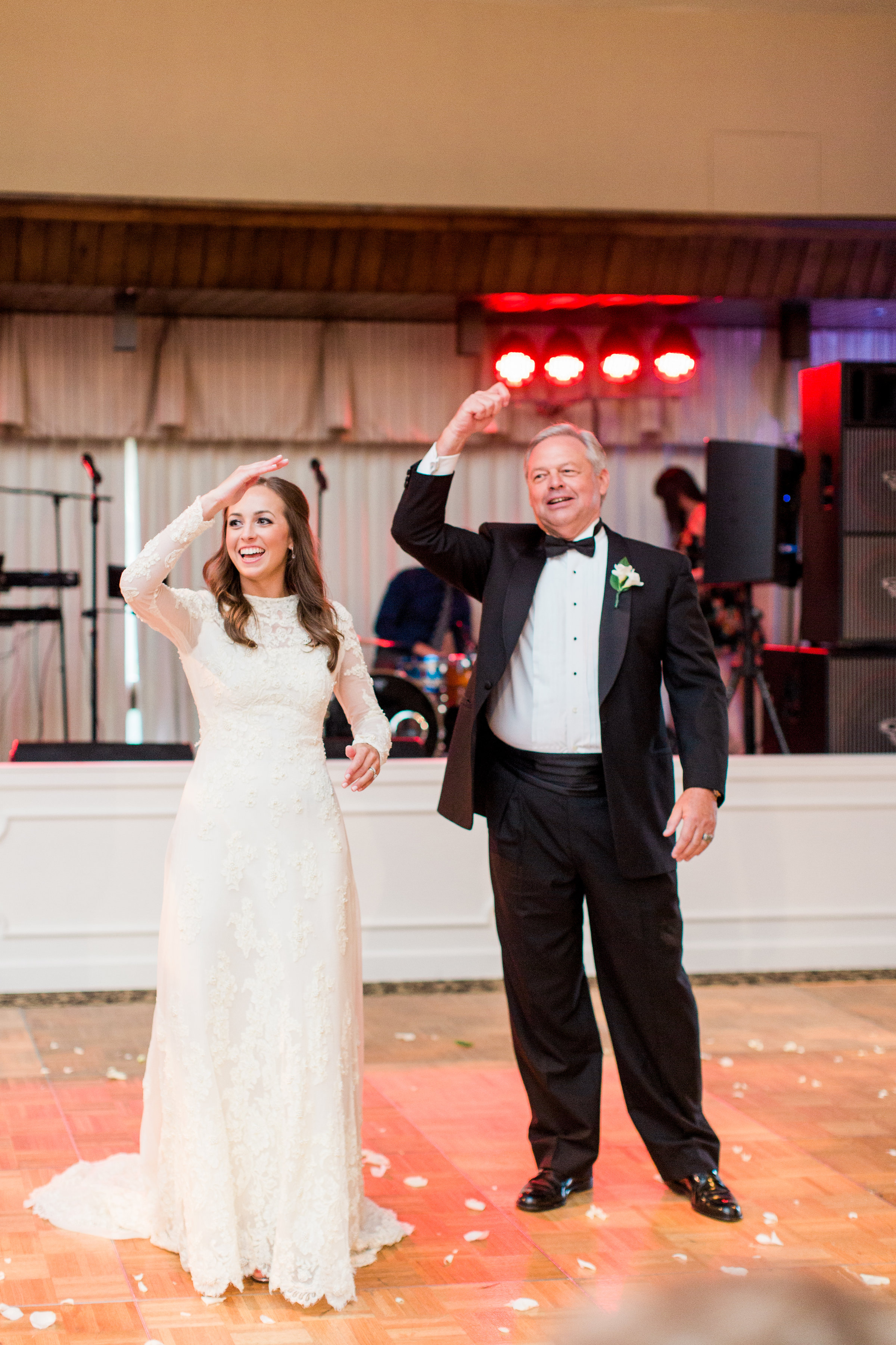 Both my parents went to the University of Arkansas and anyone who knows my dad knows how much he loves his Razorbacks. It only seemed fitting for us to do our dance to the Arkansas Fight song followed by the classic hog call. Woo Pig Sooie!