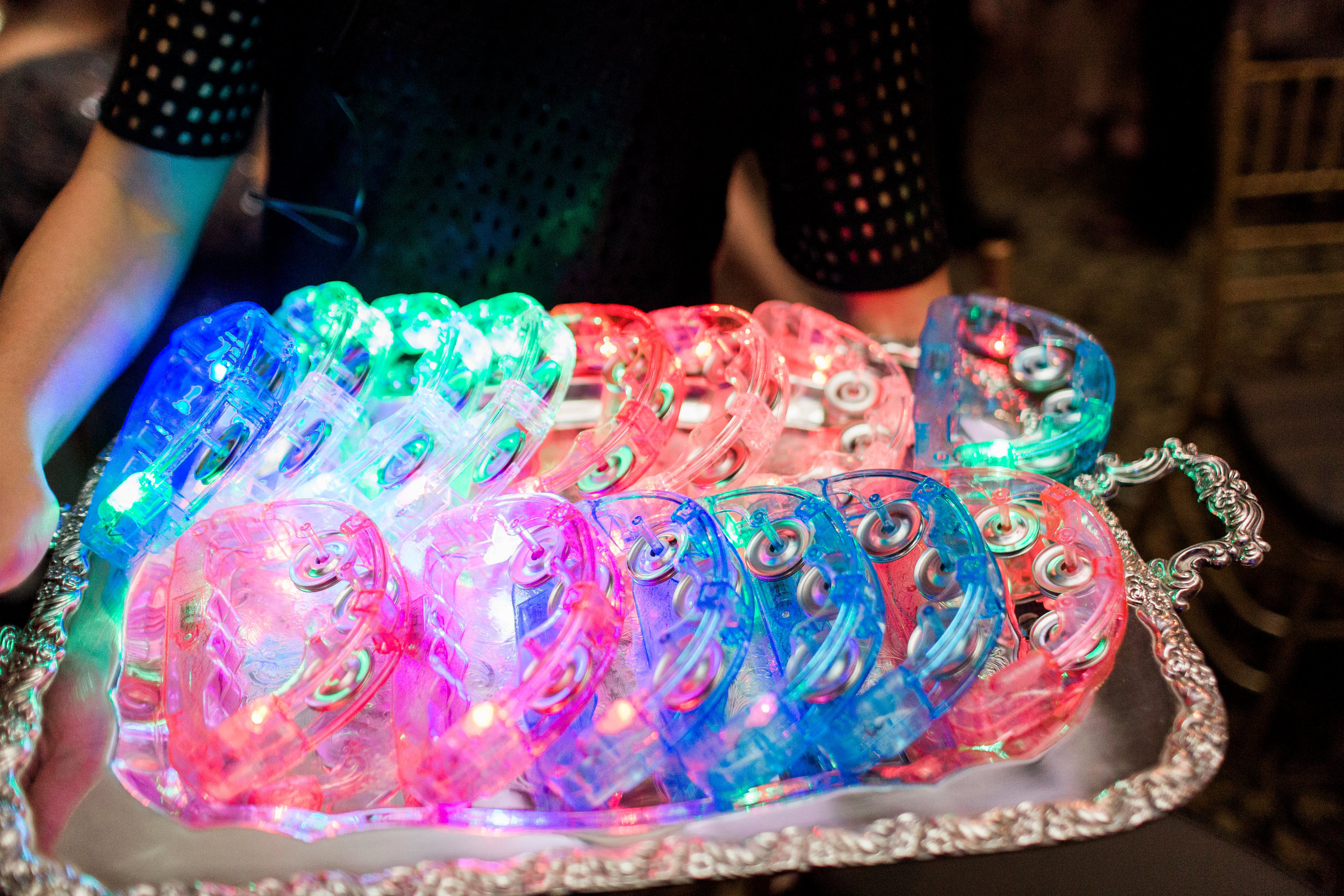 Guests loved having this light up tambourines on the dance floor. They were brought out on silver trays too!