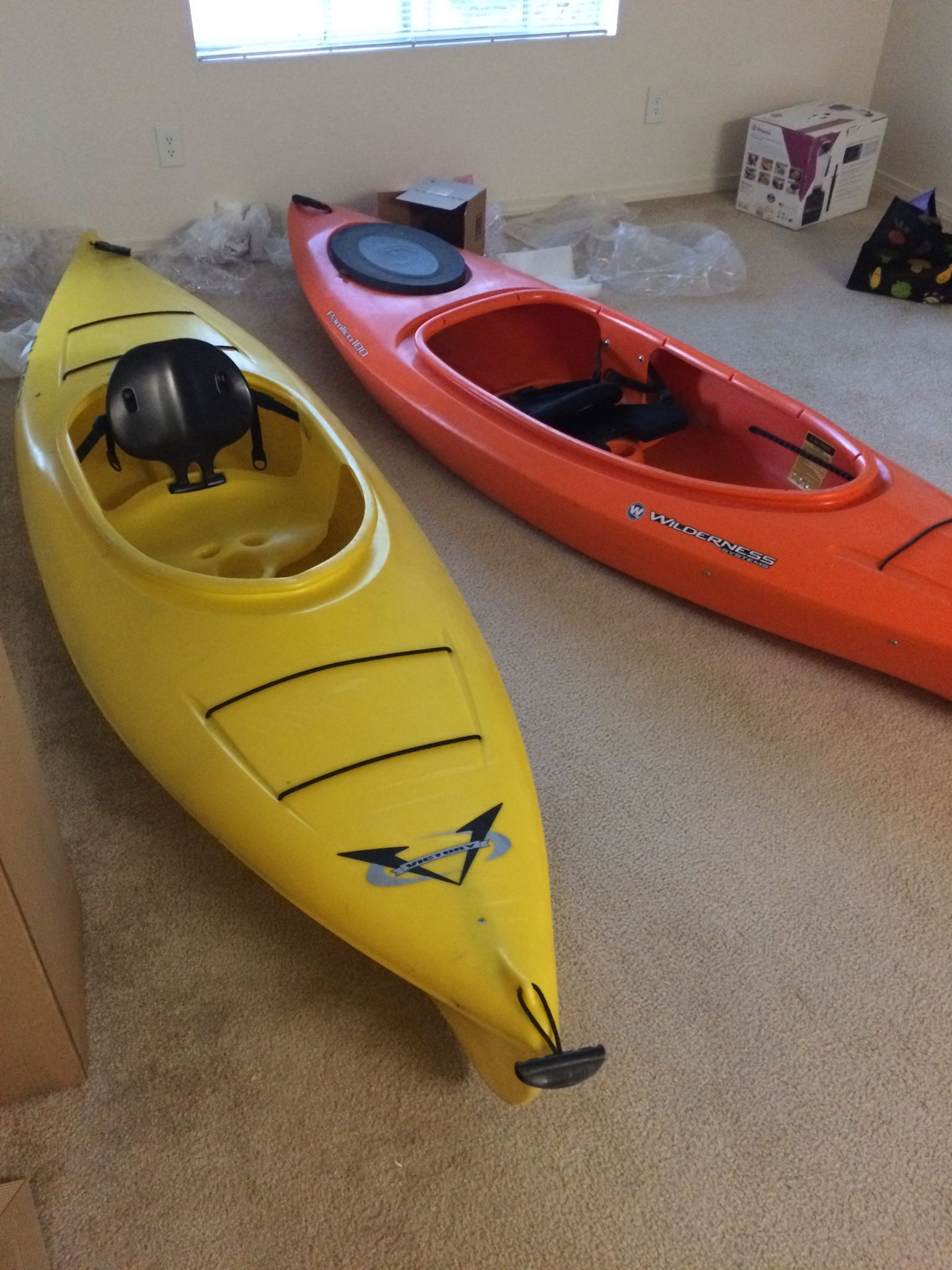 Kayaks are an essential possession. They took up the most space beyond our matress.