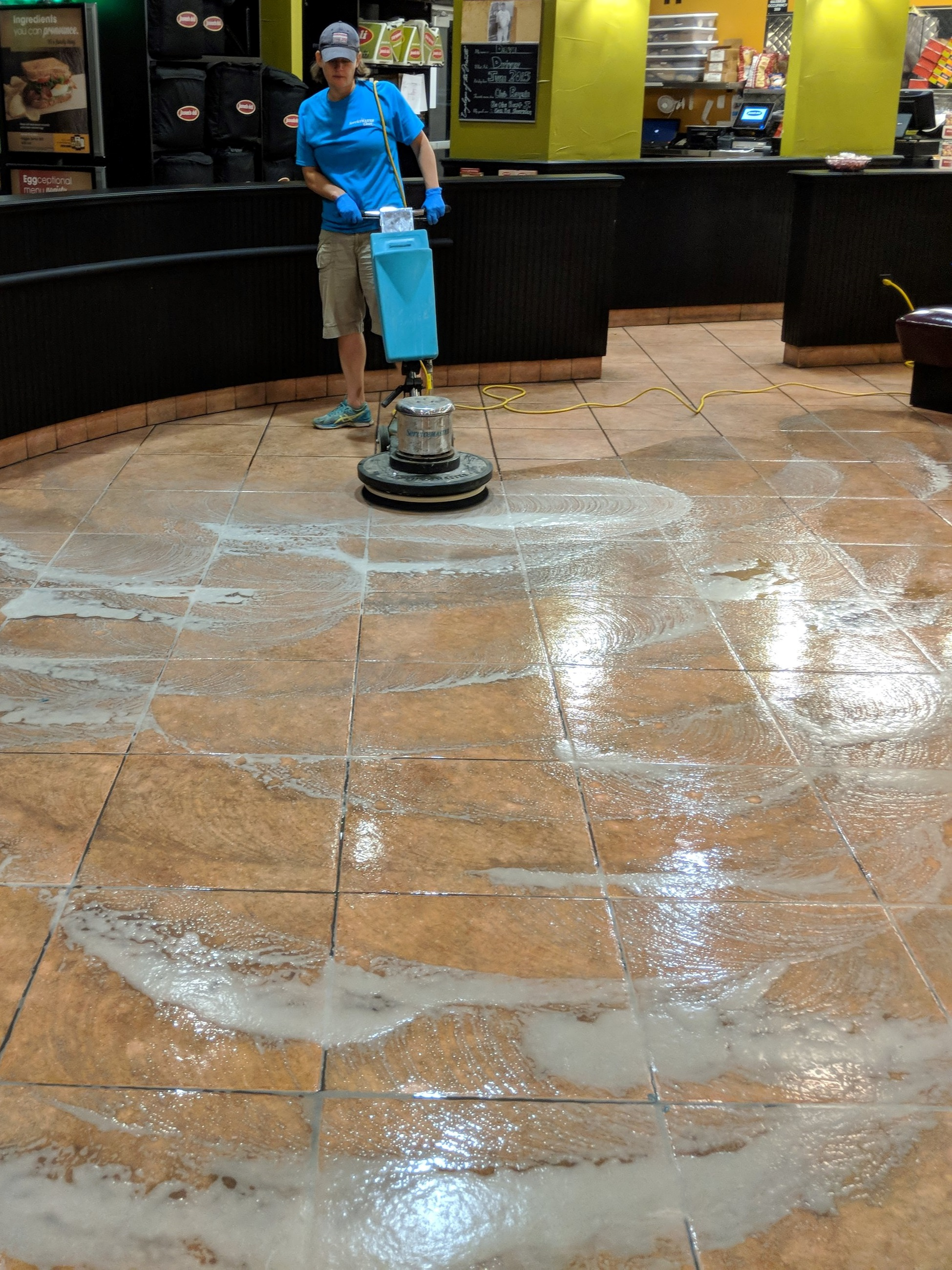 Working the overnight shift scrubbing a floor. 10:00pm-6:00am