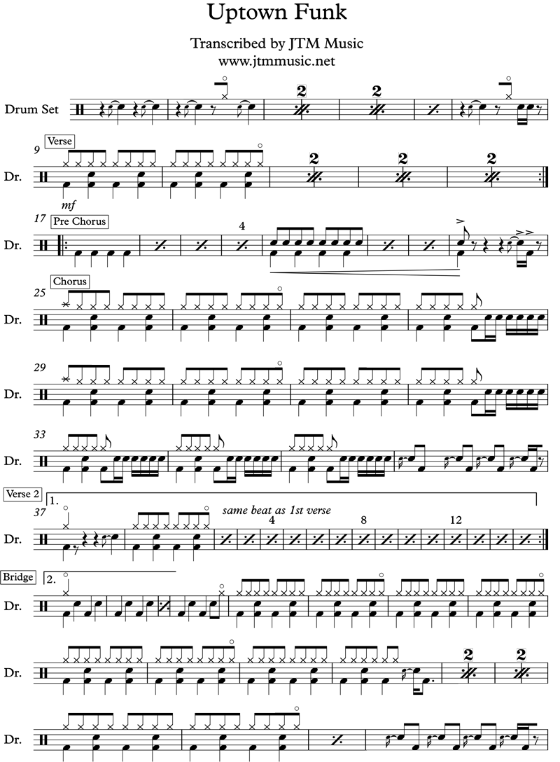 Uptown Funk Drum Chart/Score Transcription — JTM Music