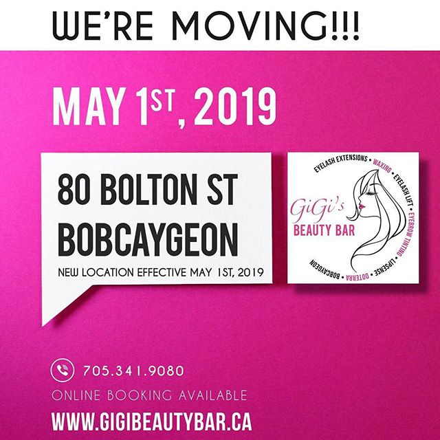 ATTENTION! Gigi's Beauty Bar is moving to 80 Bolton St which is downtown Bobcaygeon, Ontario! SO excited for this new space!This will be effective as of this May 1st! Countdown is on! Hope everyone had and is having a lovely long weekend.  You may BOOK your appointments ONLINE! Check it out along with our other services we offer such as a waxing! http://gigis-beauty-bar.genbook.com  Questions? You may call/txt 📞705-341-9089  Visit www.gigibeautybar.ca for our list of beauty services✨  #eyelashes #extensions #eyelashextension #bobcaygeon #kawarthalakes #peterboroughlashes #ontariolashes #lashes #salon #beauty #beautybar #lashme #oshawalashes #lashlift #eyelashperm #lashperm #beautybar #kawarthapeeps #eyelashartist #lashartist #lashtech #oshawalashes #volumelashextensions #volumelash #lashliftandtint #browwax #browtint #browtinting #lashlifting #lashgoals