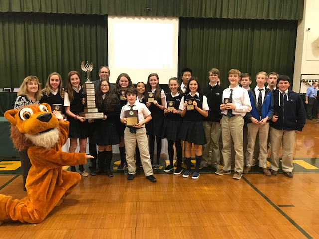 The students of Holy Trinity pose with their 1st place awards! Congratulations!