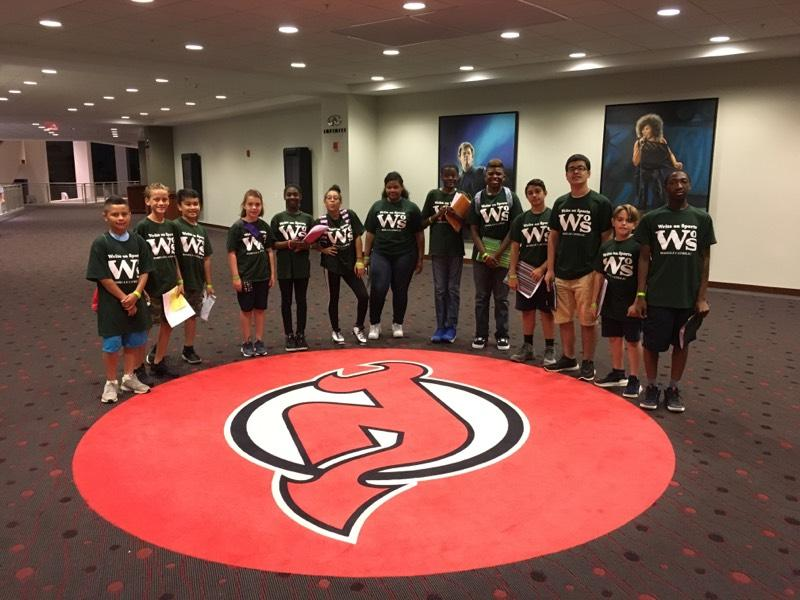Write on Sports campers from Roselle Catholic enjoyed meeting and interviewing Seton Hall  University basketball player Shavar Reynolds and All-Star sportswriter Jerry Carino at the  Prudential Center in Newark on Aug. 1.