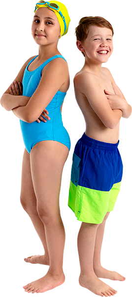 A girl (Swim) and boy (Well) standing back to back in their togs.