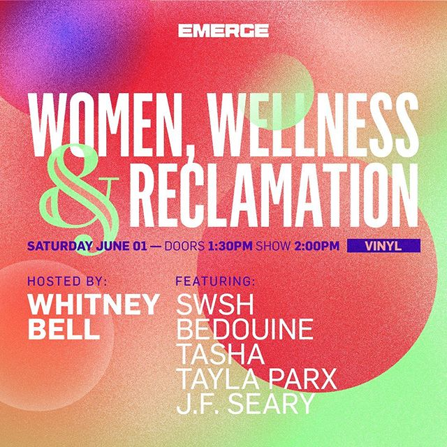 THIS SATURDAY catch me and this 🔥🔥🔥 group of womxn and allies talking about the commodification of wellness, the accessibility of therapy, and how to learn to love yourself first. At @emergelv ✨🌟✨ @wowtashawow @taylaparx @6swsh9 @bedouinemusic @therapyforblackgirls @kevinbabbott