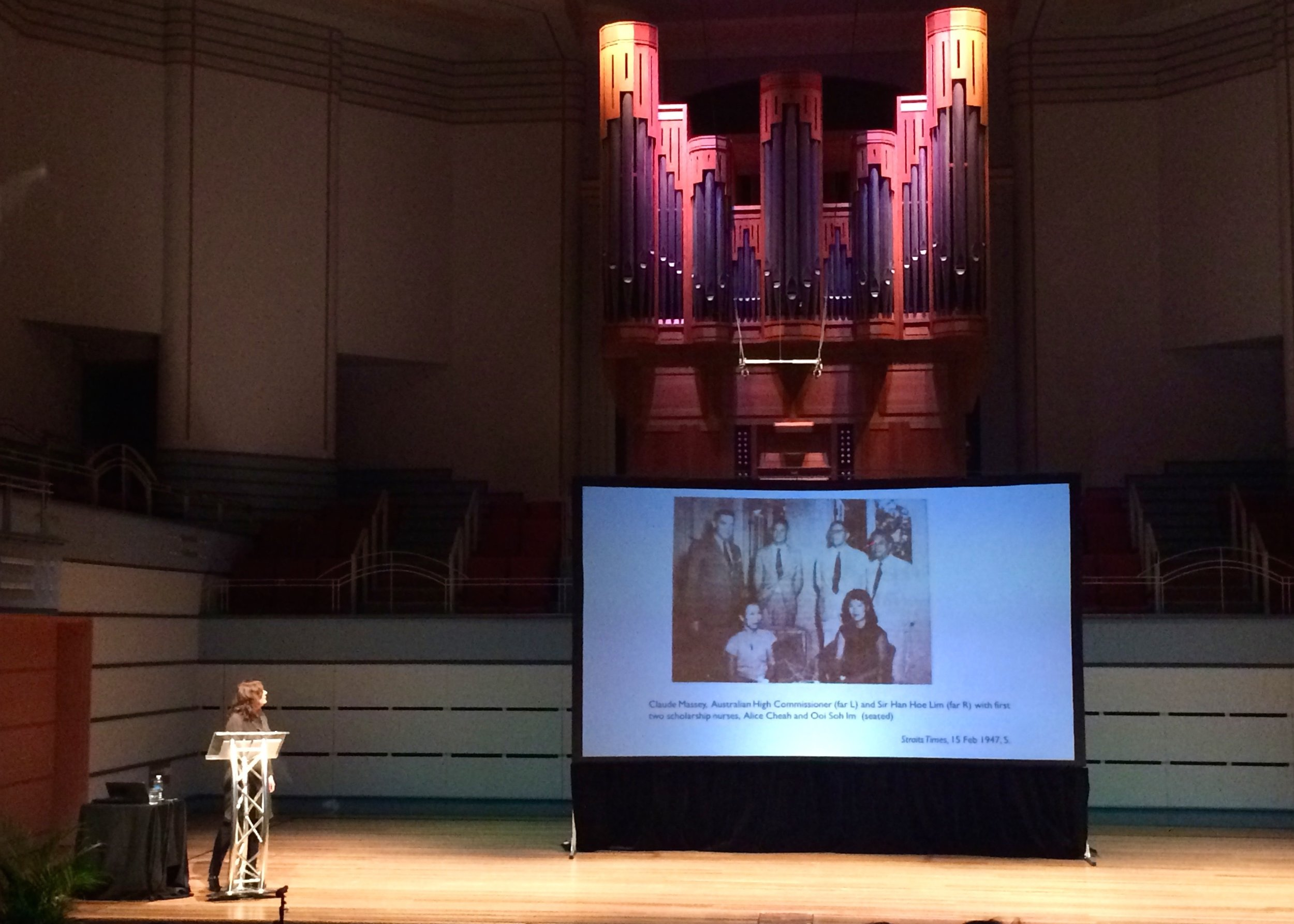 Christina Twomey giving her plenary in the beautiful Harold Lobb Concert Hall in Newcastle.