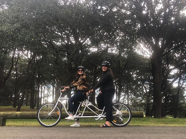 Today's tandem biking adventure with @lori.ann.cook. If our friendship can survive this it can survive anything. #onwardsandupwards #tandembike