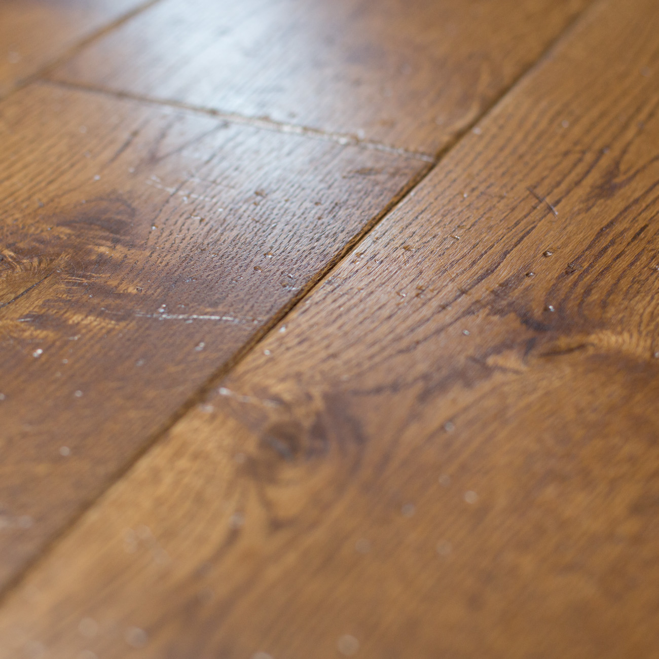 Distressed wooden flooring
