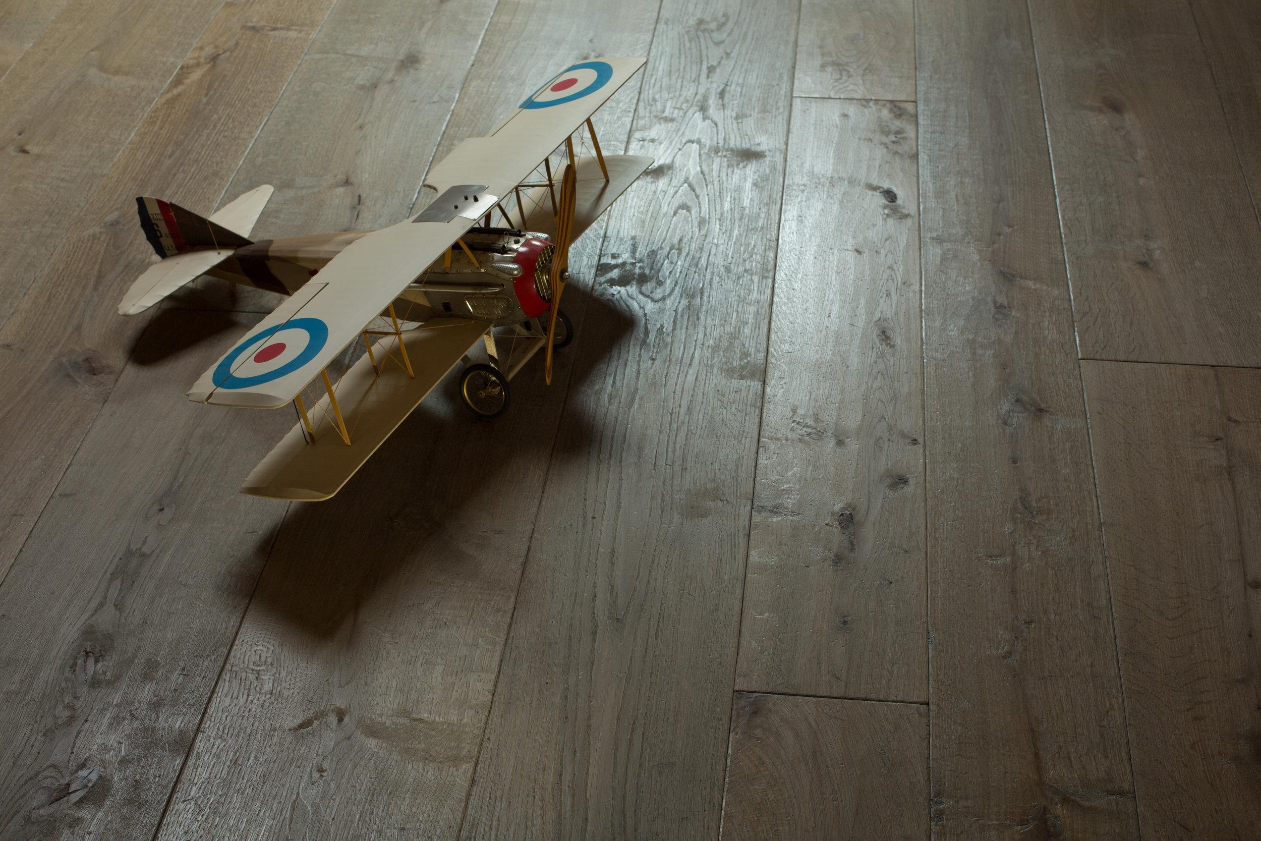 Aged oak flooring