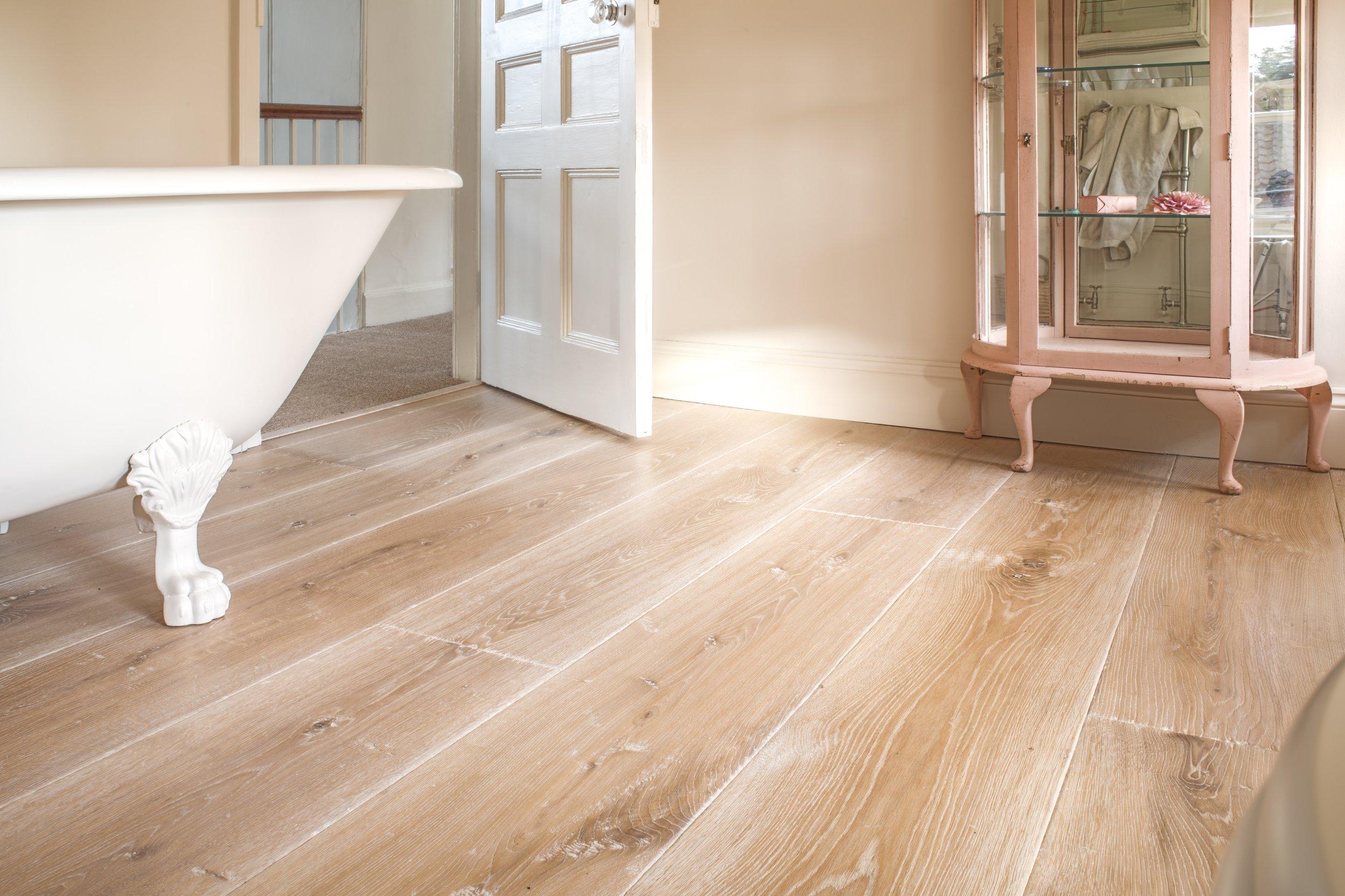 Wood floor in bathroom