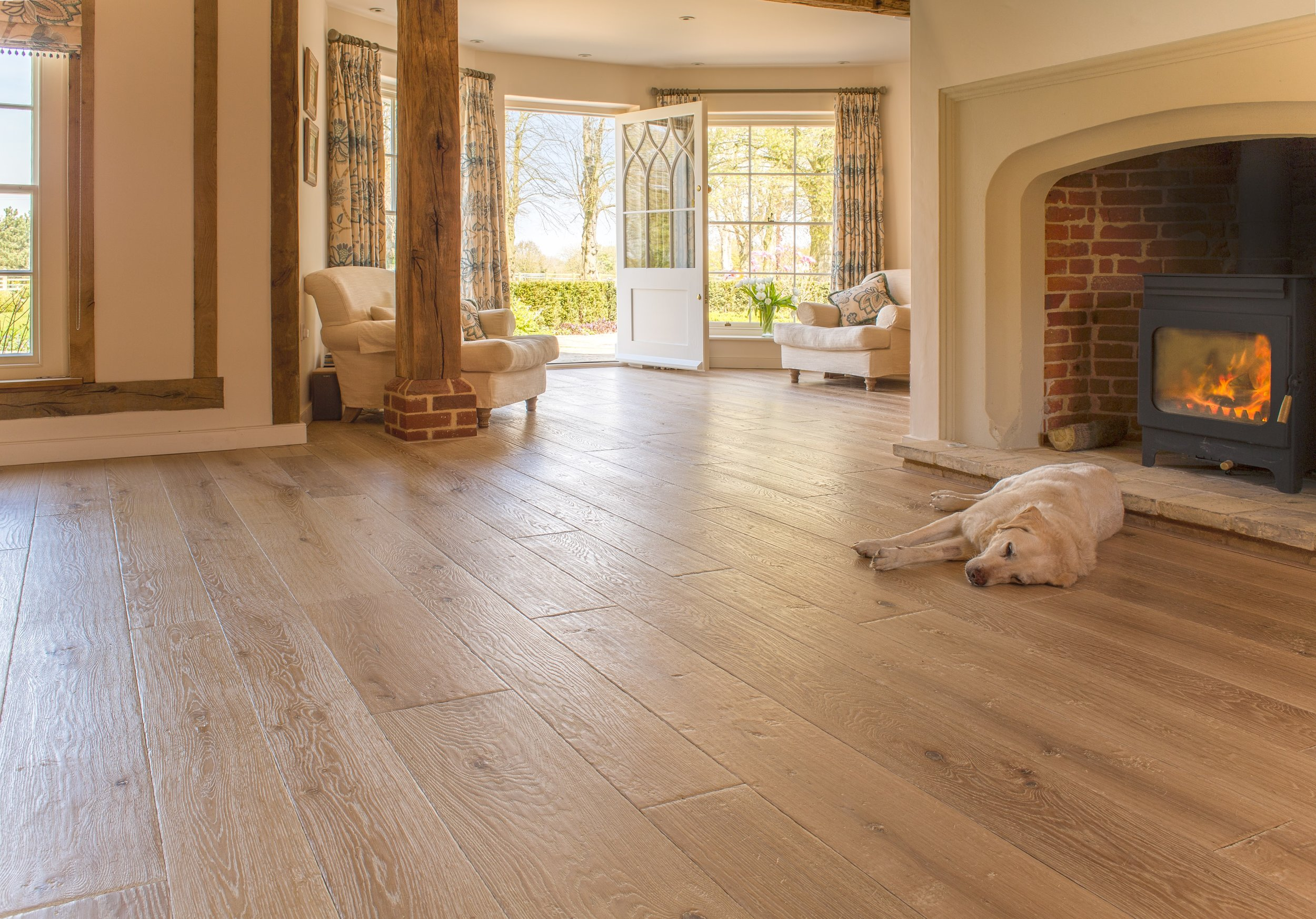 Wide oak floors