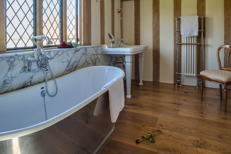 Distressed engineered oak flooring
