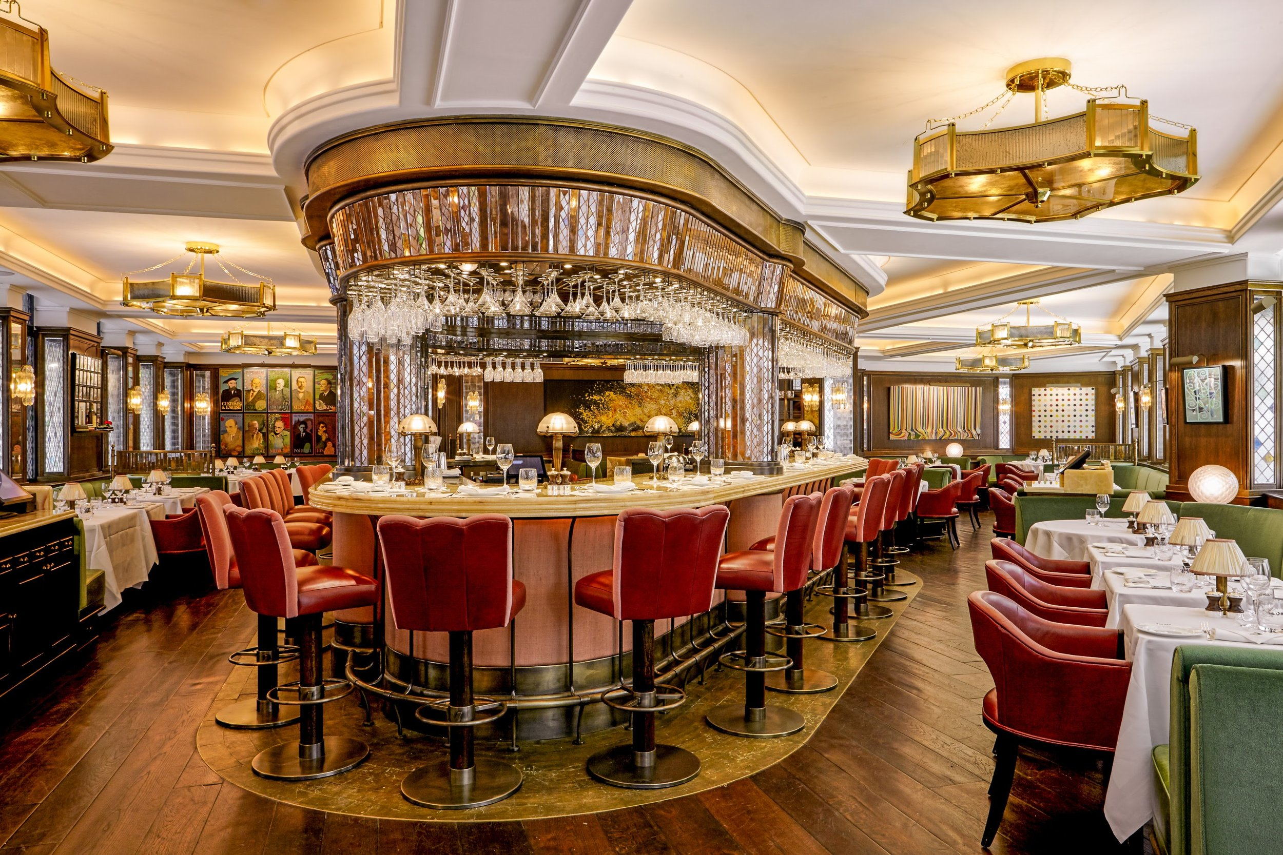 The  Ivy restaurant in London , with a bespoke floor by Charles Lowe and Sons.