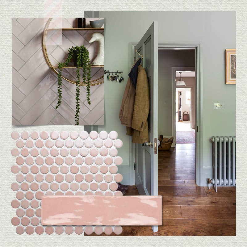 Pastel colours on walls and tiles, along with contrasting wooden flooring will trend in 2019.