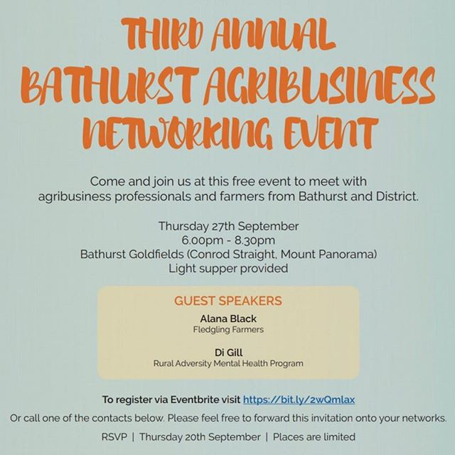 Come along to 2018 #Bathurst Agribusiness Networking Event this Thursday! I'll be chatting about #succession and my recent trip to #Scotland for @ryp2018 Ideas Festival 🌾Thanks #wfiinsurance and @nswfarmers for organising the event!