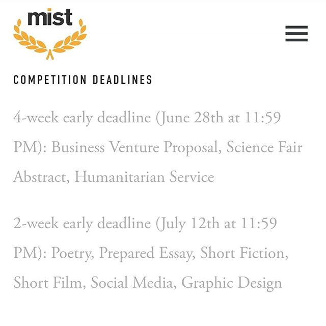 Early submission deadlines are coming ever closer. Make sure you turn in your submissions on time.  Details on how to submit will be posted on www.getmistified.com closer to the deadline.  #nationals #mistdallas