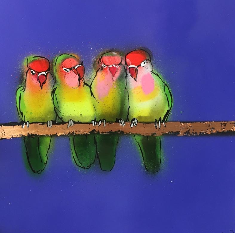 Lovebirds on Purple