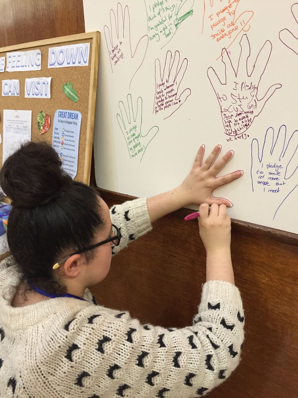 Student creating her happiness pledge - good for her!