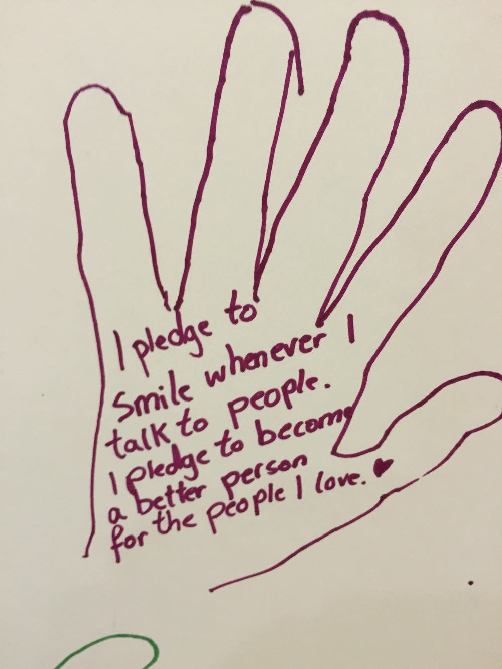 One of the many lovely students pledges. We had over 20 pledges altogether.