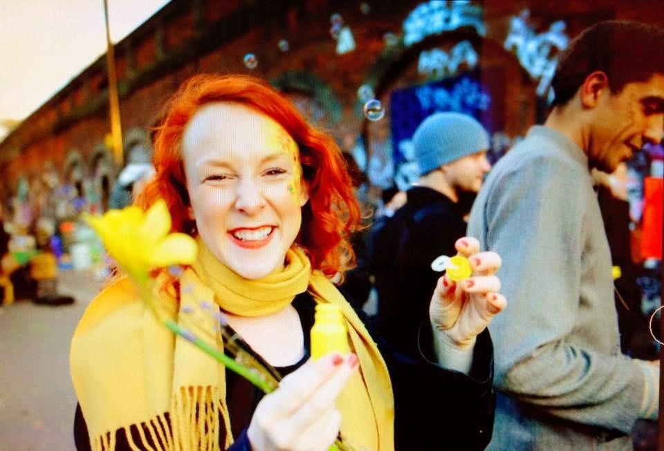 Vicky looking very grateful at the Happiness Flash Mob
