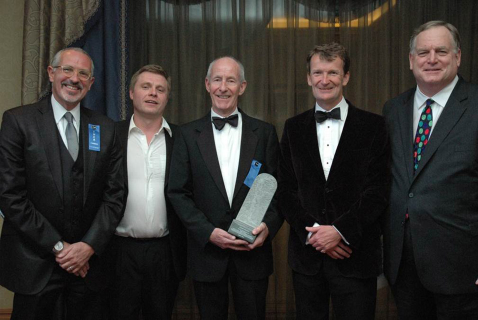 Representing Titanic Belfast at the Themed Entertainment Association Awards (l to r) CEO Tim Husbands MBE, John Paul Doherty, Conal Harvey, James Alexander and Eric Kuhne of CivicArts.
