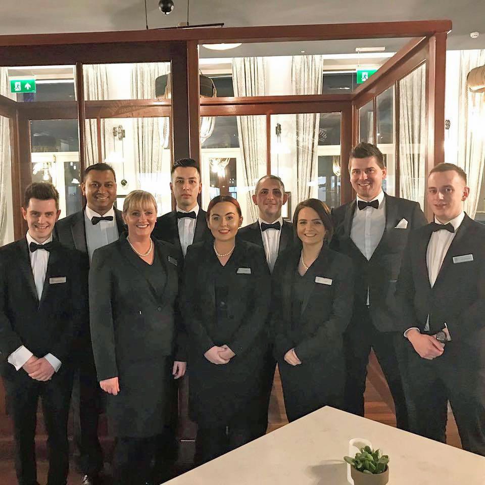 The Titanic Hotel Team ready for service at the 20th Anniversary Dinner of the Good Friday Agreement